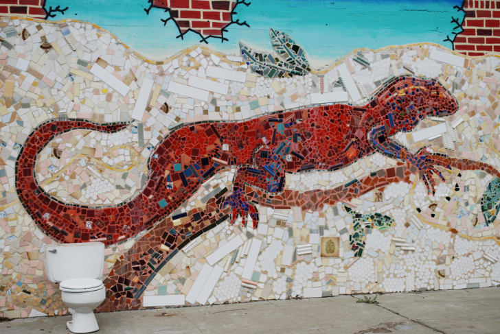 Jingletown mosaic of lizard