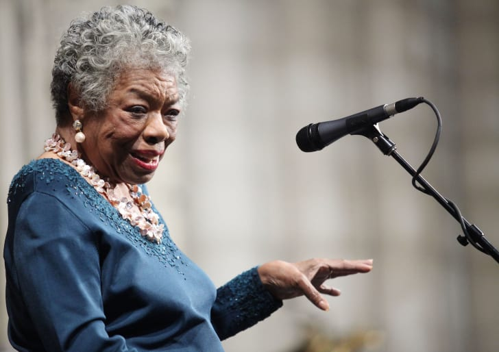 Writer Maya Angelou attends the memorial celebration for Odetta at Riverside Church on February 24, 2009 in New York City.