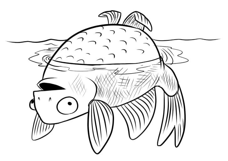 A black-and-white illustration of a fish floating upside down on the surface of the water