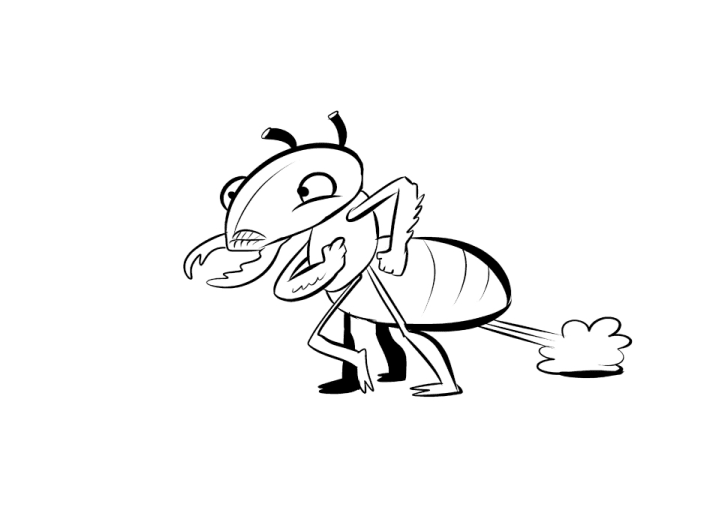 A black-and-white illustration of a termite farting