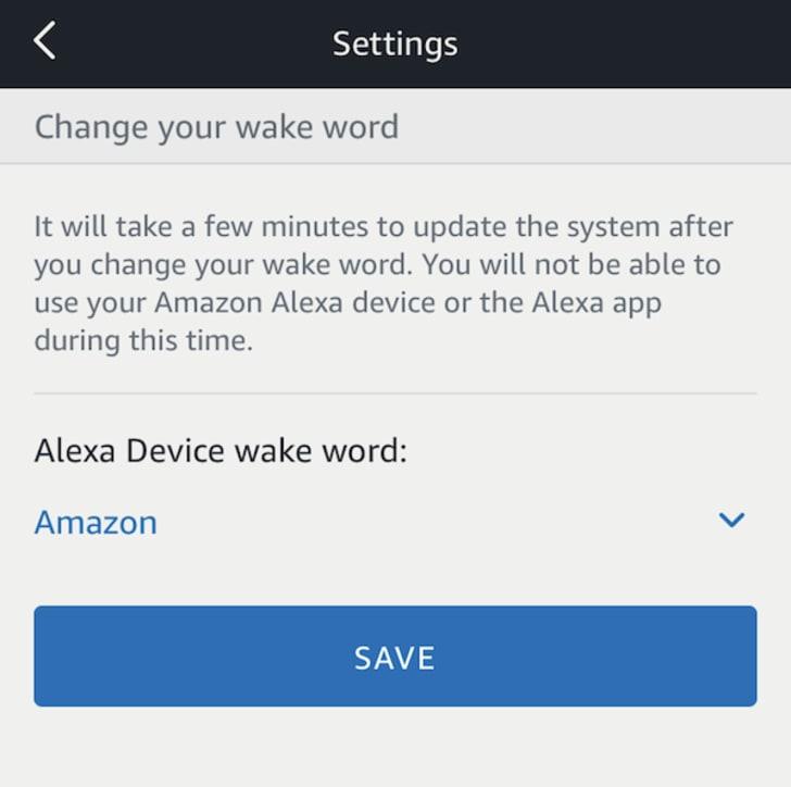 Amazon Alexa menu for changing wake word