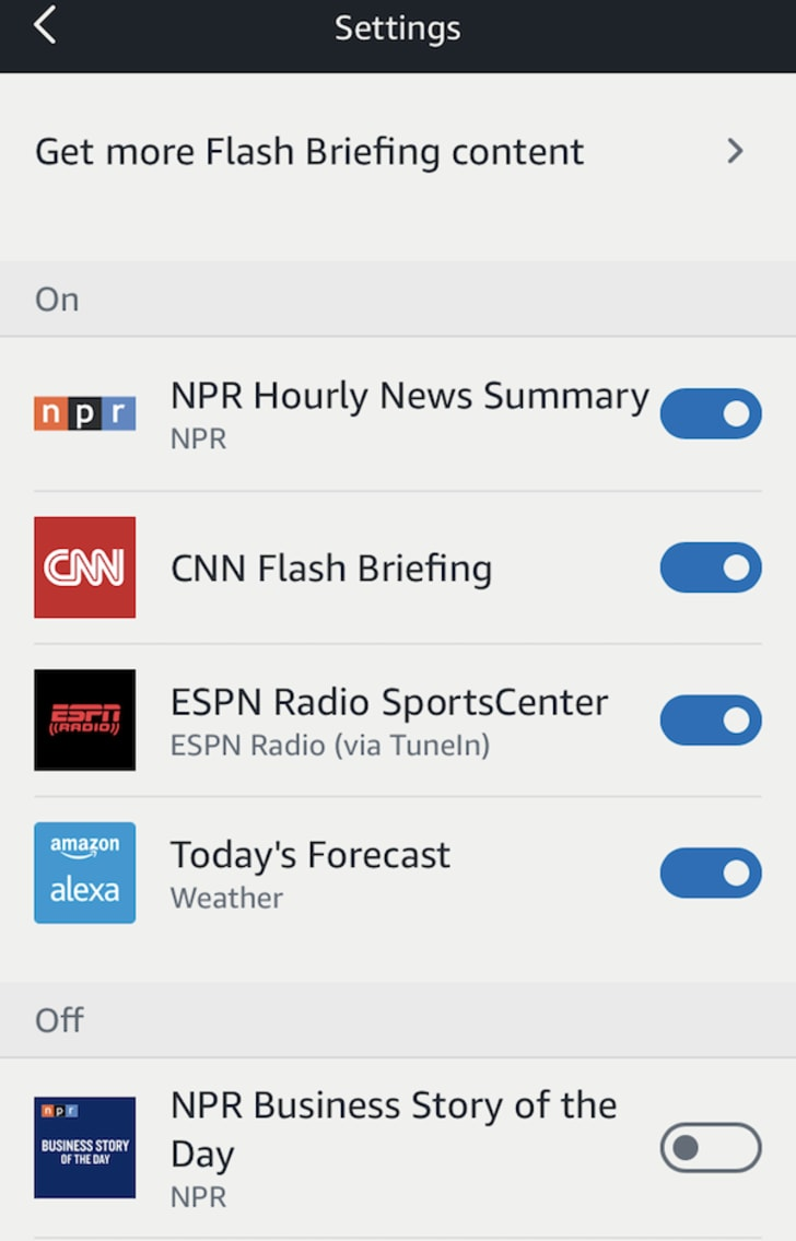 Amazon Alexa flash briefing menu