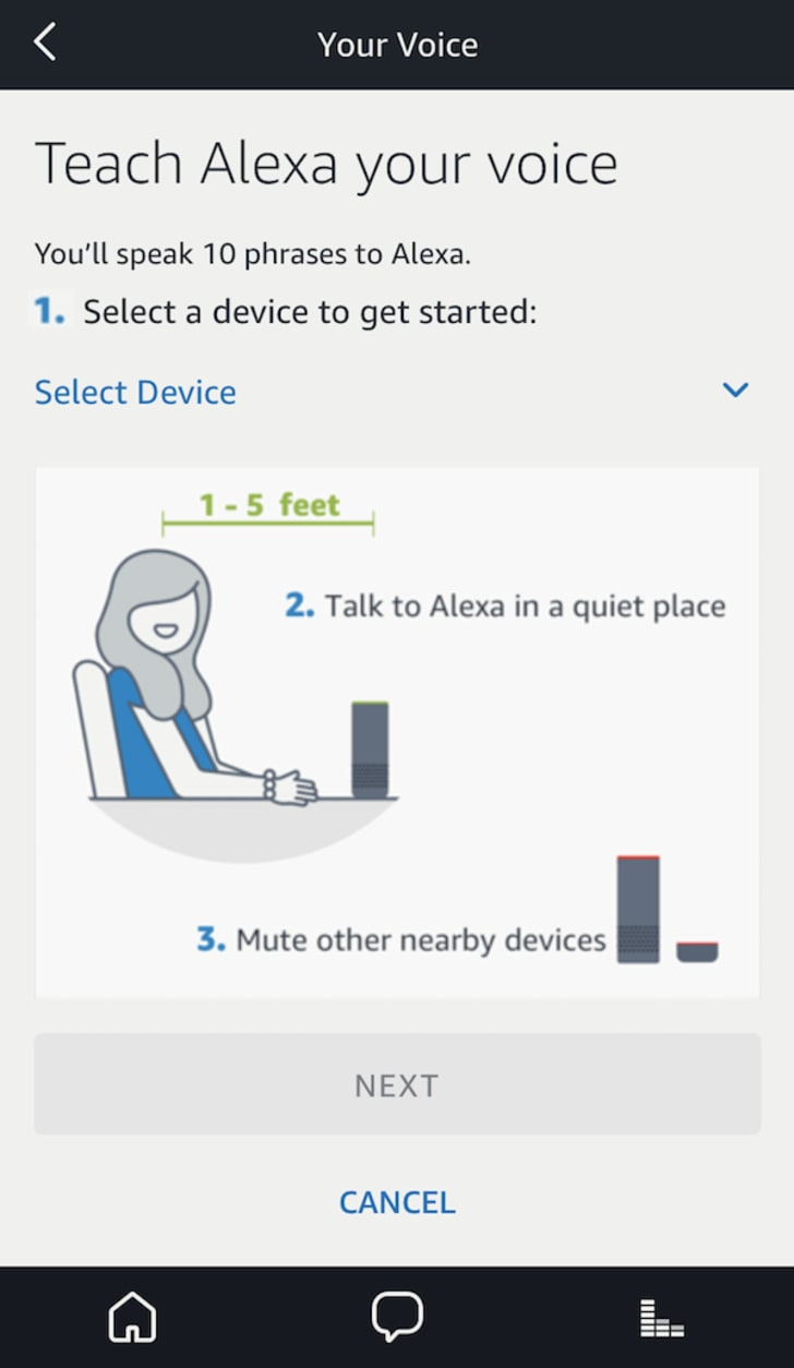 Menu screen for Amazon Alexa voice training