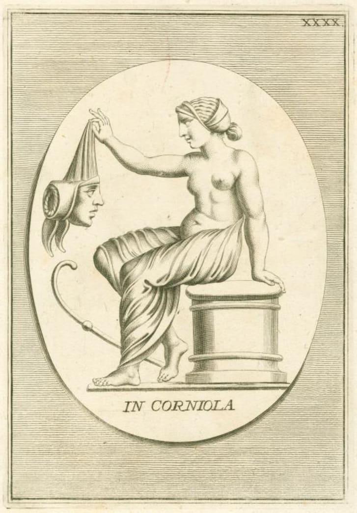 Roman woman holding a mask