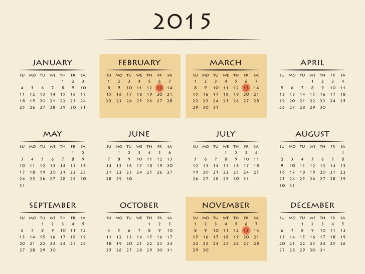 Calendar of 2015 with three Friday the 13ths