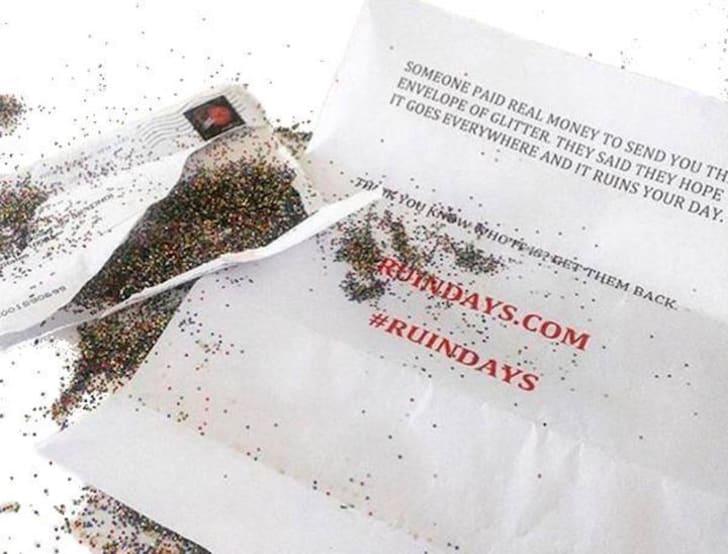 envelope full of glitter