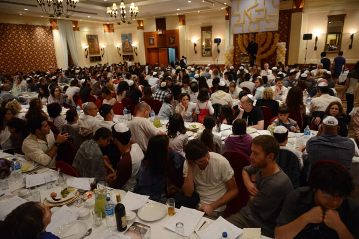 Hundreds of worshippers gather in a hall for Passover in Kathmandu in 2014.