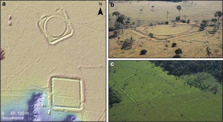 Geoglyphs and mounded ring villages.