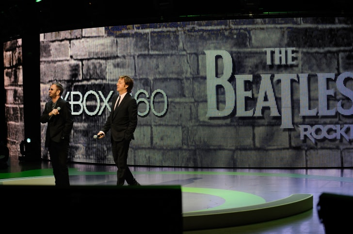 Ringo Starr and Sir Paul McCartney introduce the new video game The Beatles: Rock Band for the Microsoft XBox 360 at the E3 2009 gaming expo