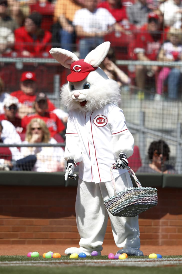The Easter Bunny drops eggs on the field in between innings of a Cincinnati Reds game.