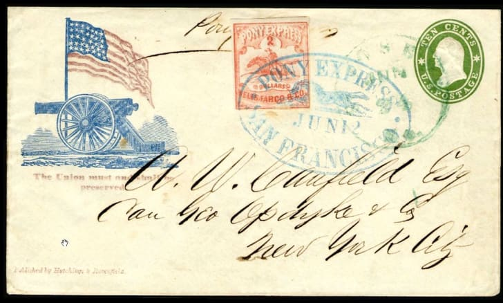 An envelope stamped 'Pony Express'