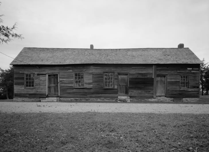 A black and white image of a historic Pony Express station