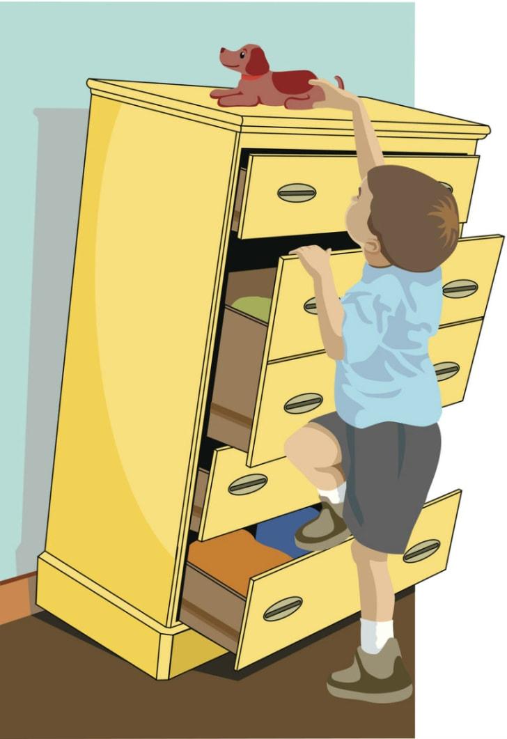 An illustration of a child climbing a dresser