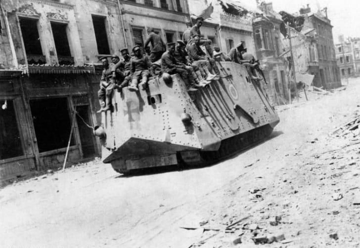 German tank in Operation Michael, World War I, 1918