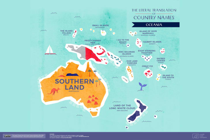 A map of Oceania featuring the literal translations of its country names
