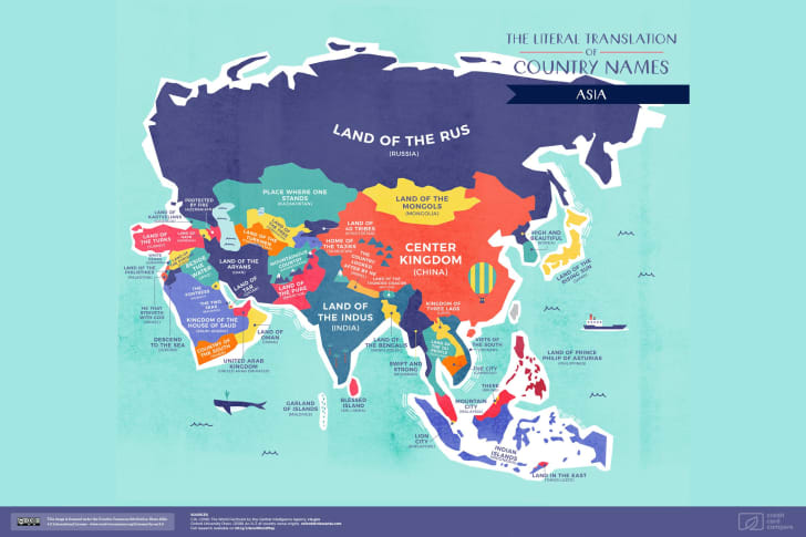 A map of Asia featuring the literal translations of its country names