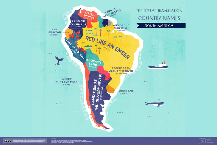 A map of South America featuring the literal translations of its country names