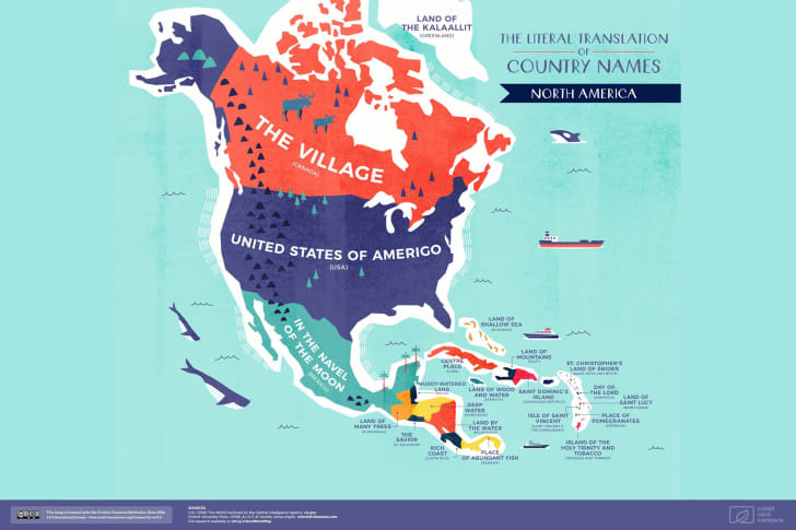 A map of North America featuring the literal translations of its country names