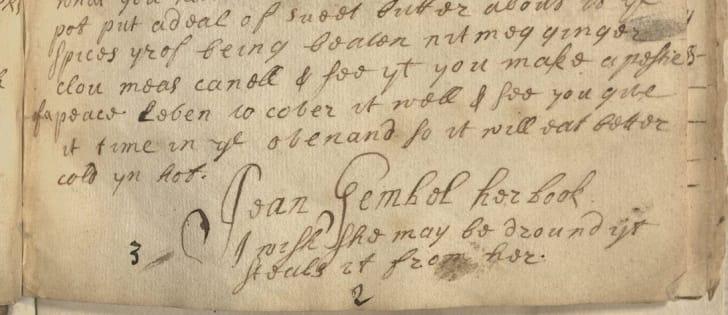 A book curse in a 17th century manuscript cookbook