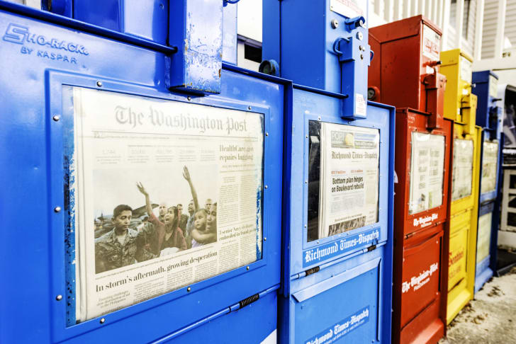 'The Washington Post' in a newspaper kiosk
