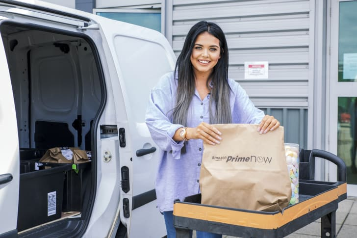 Scarlett Moffatt of Gogglebox with Prime Now package