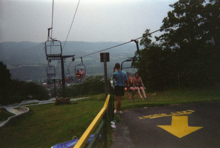 The ski lift takes visitors to the Alpine Sled