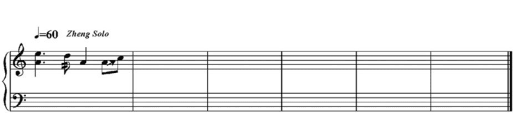 A musical score with just a few notes on it