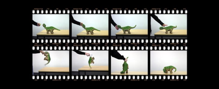 Stills of a video in which a robot gets petted or beaten by a human