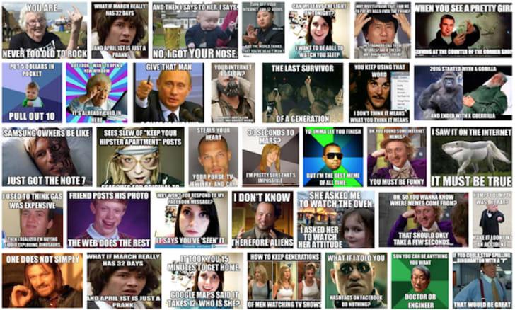 A screen shot of several popular internet memes