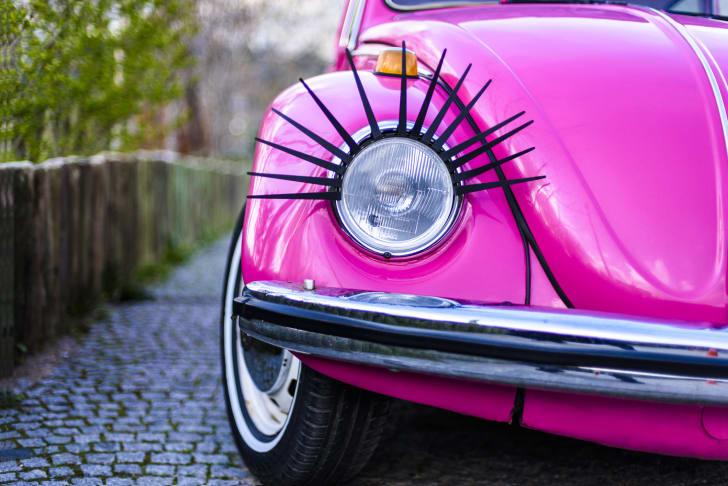 A pink VW Beetle