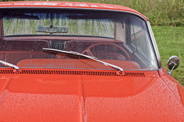 windshield wipers on red car