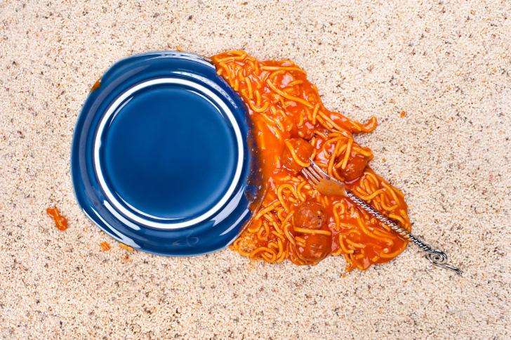 spaghetti spilled on floor