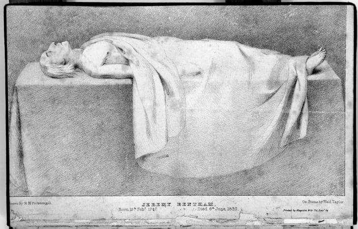 Sketch of Jeremy Bentham's corpse laid out for dissection