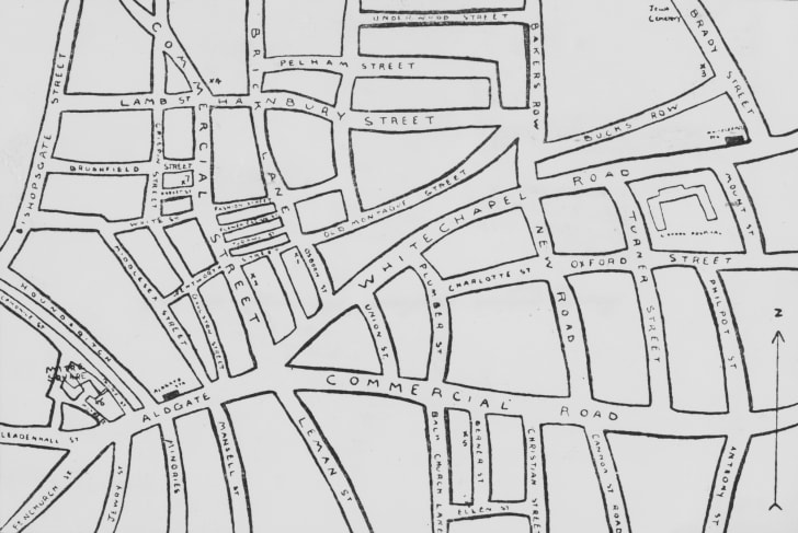 circa 1891: A map of Whitechapel in east London, where eleven women were killed between 1888 and 1891, and the murders often attributed to unidentified serial killer Jack the Ripper.