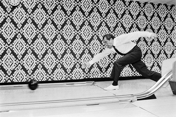 Richard Nixon in the bowling alley at the White House in 1971