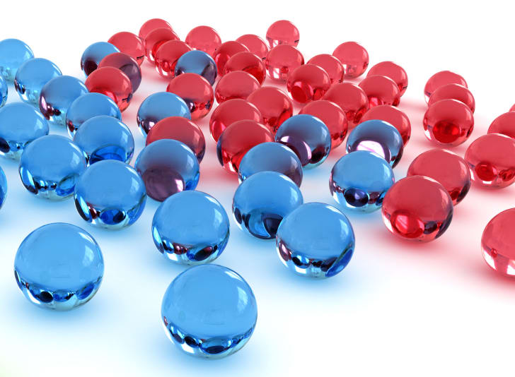 Blue and red marbles.