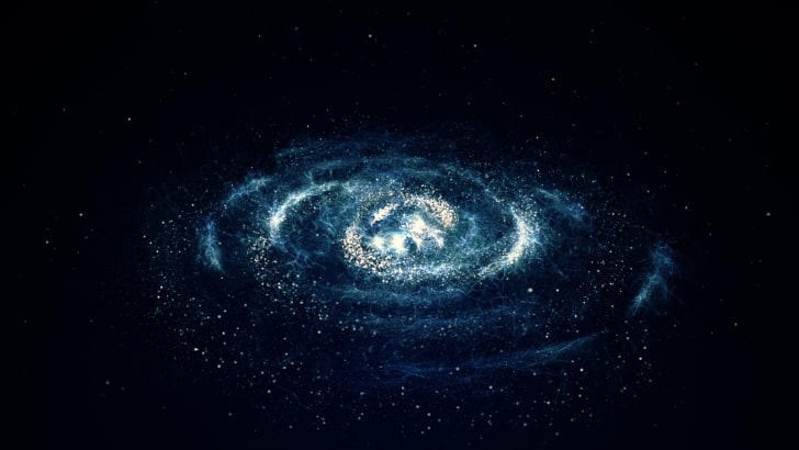Blue-tinted stars in galaxy.