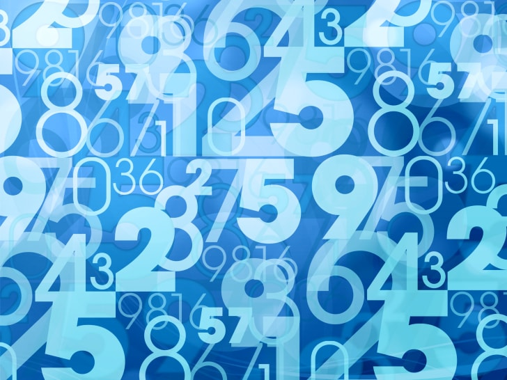 Floating blue numbers