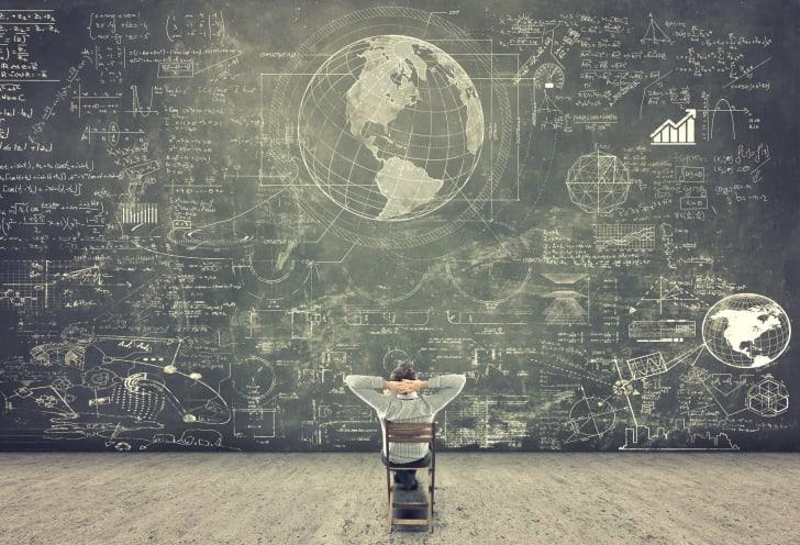 Globe on chalkboard