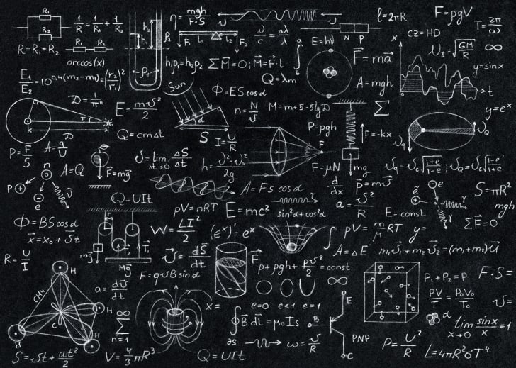 Blackboard with math and science equations on it