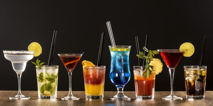 variety of cocktails on a bar