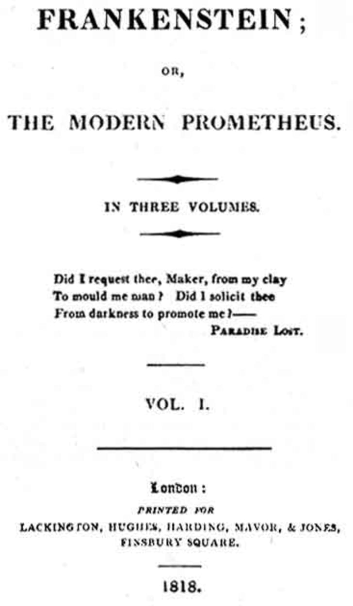 The title page of the original edition of Mary Shelley's 'Frankenstein'