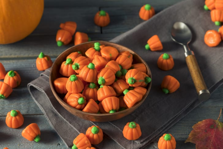 Bowl of candy pumpkins.