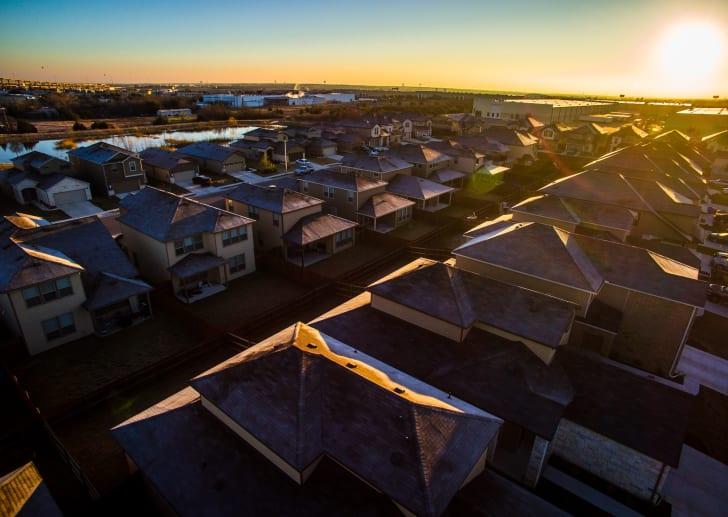 Neighborhood at sunset.