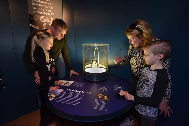 Family looking at museum exhibit