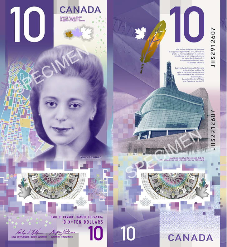 Images of Canada's new $10 bill featuring Viola Desmond