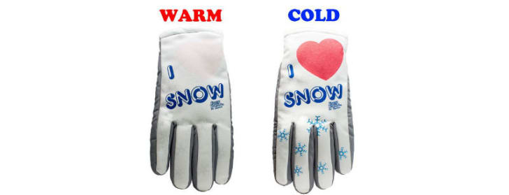 A Freezy Freakies glove before and after the temperature change