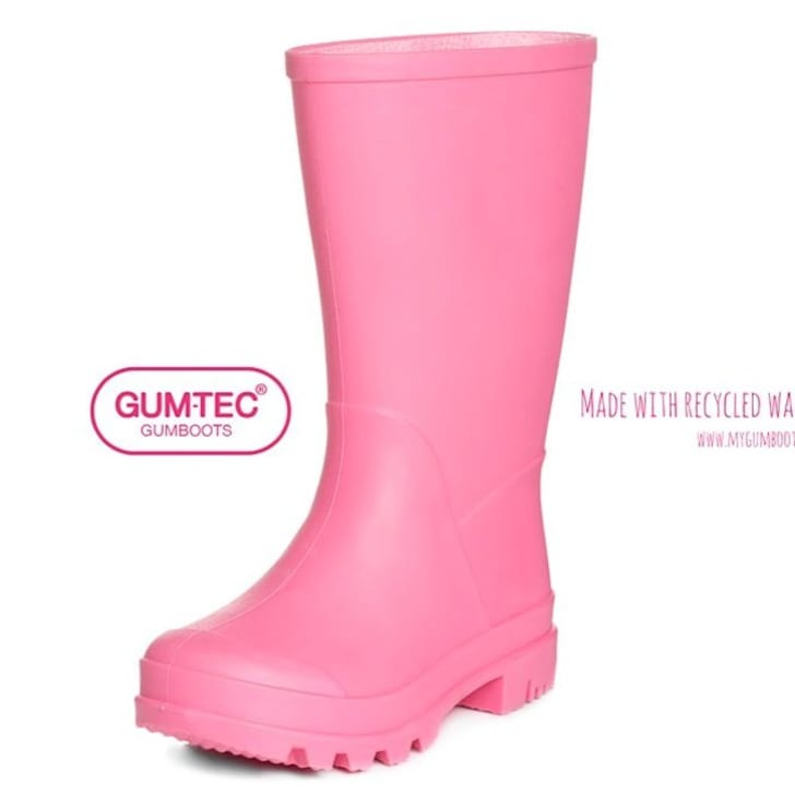 Pink rubber boot.