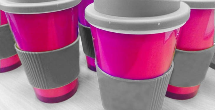 Pink coffee cups.
