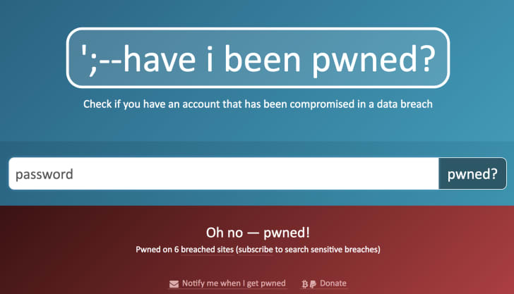 A screenshot of the site asks 'have i been pwned?' Below, the word 'password' is typed into the search bar.
